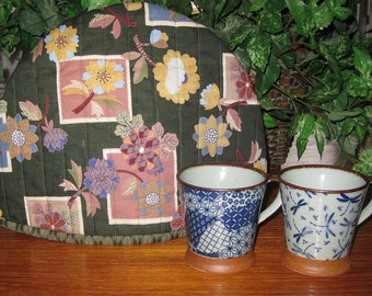 Quilted Teapot Cozy Japanese Floral Patchwork Look Design Thermal Lined Fabric