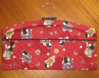 Kimono Girls Design Closet Hanger Organizer Quilted Asian Japanese Fabric