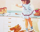 Vintage School Poster Naughty Girl Puppy Dog Illustrated Color Print 1960s DCC