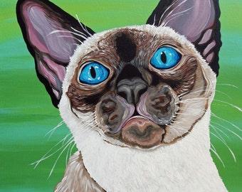 Siamese Cat 16 x 20  Original Canvas Painting Pet Art-Carla Smale
