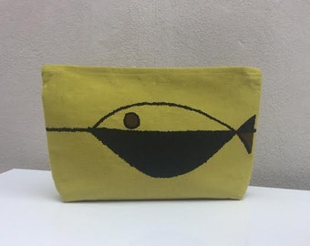 Abstract fish design linen zip purse/clutch