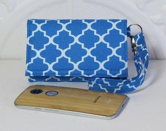 iPhone 6 Plus Wallet Wristlet Card Wallet Cell Phone Wristlet Wallet Case / Galaxy / Moto X / NEW STYLE TECH / Cornflower Blue Lattice