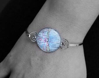 Custom Map Bracelet - You Pick City - Personalized Map Jewelry - Bangle - Bridesmaid Gift