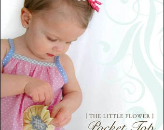 Jackie Clark Designs, The Little Flower Pocket Top and Purse Pattern, nb thru 4T