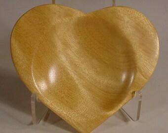 Yellowheart Heart Shaped Ring  Dish Exotic Wood Bowl Number 5876