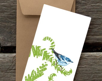 Warbler and Fern -- 8 Blank flat cards and envelopes