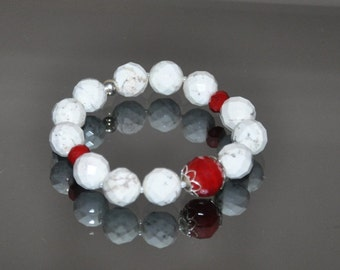 Gemstone Bracelet, White Stone, Red Crystals, Stretch Bracelet, Sterling Silver, Chunky Jewelry, Beaded Bracelet