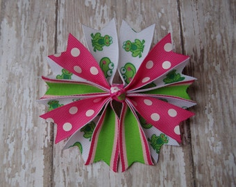 "Boutique Pinwheel Spikes Froggie 4"" Hair Bow Groovy Frog Hot Pink & Green Frog Hair Bows Frog Hair Bow"