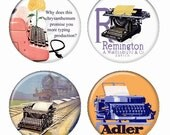 Typewriters Vintage Advertisements Adler Remington Olivetti Magnets or Pinback Buttons or Flatback Medallions Set of 4