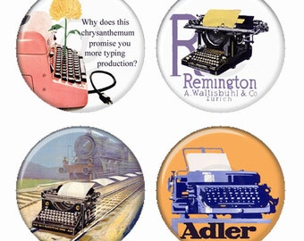 Typewriters Vintage Advertisements Adler Remington Olivetti Magnets or Pinback Buttons or Flatback Medallions Set of 4