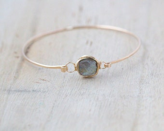 Labradorite Gold Bracelet , Bezel Wrapped , 14K Gold Filled Cuff , Sterling Silver , Rose Gold , Minimalist Fashion