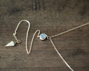 Layering Lariat Necklace , Gold Filled Y Bezel Wrapped Druzy Arrow Pendant , Sterling Silver , Minimalist Fashion