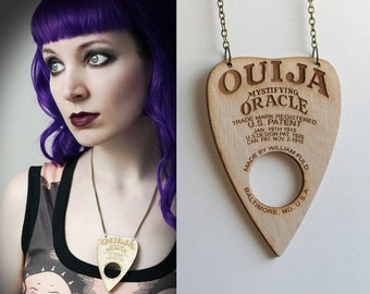 wood Ouija planchette necklace - smarmyclothes halloween gothic occult