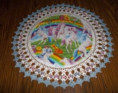Doilies - Unicorn Doily - Crocheted Edge - Fabric Center - Home Decor - Centerpiece - Handmade - 18 Inches - Butterflies - Spring Flowers