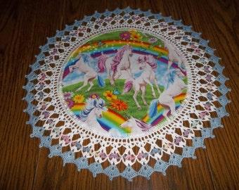 Crochet Doilies Doily Unicorn Doily Crocheted Edge Fabric Center Centerpiece Handmade 18 Inches Butterflies Spring Flowers Hostess Gift