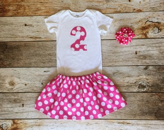 2nd Birthday Outfit - hot pink with white polka dots