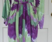 Robe Tie Dyed In Greens and Purples