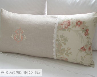 Monogrammed Decorative Pillow Initials SM or MS