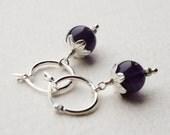 Amethyst Bead Silver Earrings Hoop Dangle Flower Cap