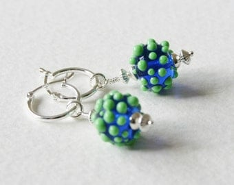 Atomic Styling Sterling Silver Lampwork Glass Earrings Green Blue