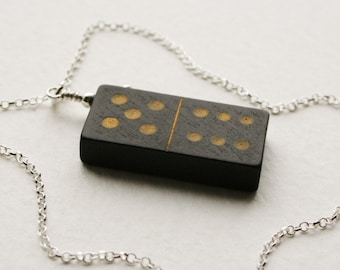 5 6 Domino Charm Necklace Sterling Silver Vintage Wooden Domino