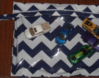 Navy Chevron medium zippered pouch with vinyl front and swivel hook