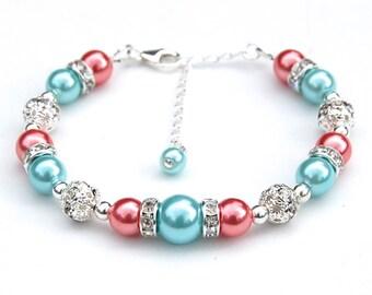 Aqua and Coral Rose Pearl Bracelet, Bridesmaid Gifts, Bridal Party, Bridesmaid Jewelry, Summer Wedding, Beach Wedding