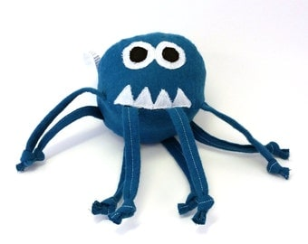 Stuffed Animal, plush, monster, teal, blue, face, teeth, ball, baby toy, knotted strings, lovey, spider, cute