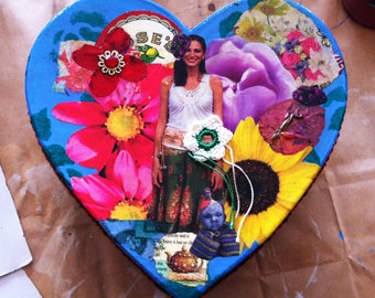 One-Of-A-Kind Hand-Decorated HEART BOX Collages Decoupage & Trimming