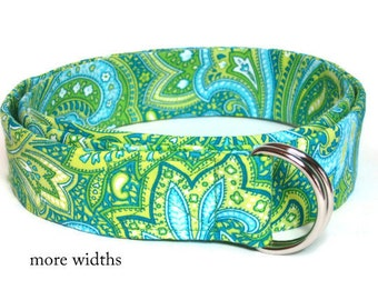 D-ring Belt / Green Blue Womens Fabric Belt / Green Ribbon Belt / Skinny Belt / Wide Belt / Summer Belt- Lime Paisley in small to plus size