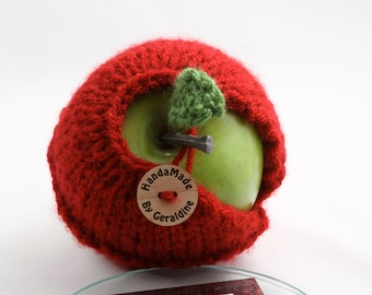 Apple cozy-Cranberry Red with little hearts around