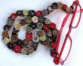 Eyeglass Chain in Vintage Buttons - Olives, Marsala, and Browns