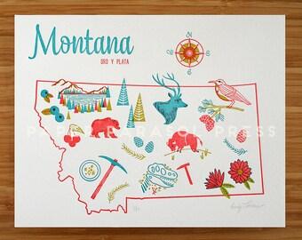 Montana State Letterpress Print 8x10