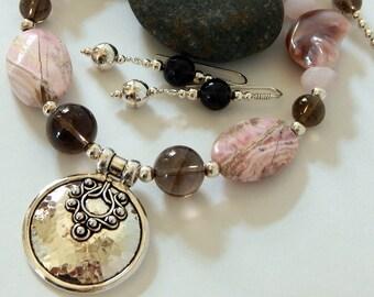 Rhodochrosite Necklace 925 Sterling Silver Pink Necklace Gemstone Necklace Statement Necklace Sterling Pendant Pink Jewelry Gemstone Jewelry