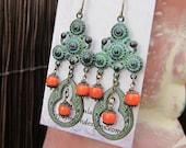 Boho earrings Unique chandelier earrings Green Burnt Orange Bohemian earrings Goddess Bohemian jewelry