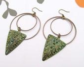 Trendy Bohemian earrings Art Deco hoop earrings patina earrings bohemian jewelry