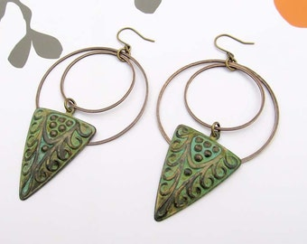 Trendy Bohemian earrings Art Deco hoop earrings patina earrings bohemian jewelry