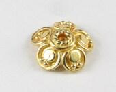 Flower Scallops 24 Karat Gold Bali Vermeil Bead Caps 11mm (2 beads)