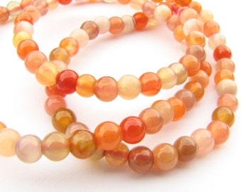 Shades of Orange Agate Genuine Smooth Polished Round Beads 4.4mm Full 15 inch Gemstone Strand Destash