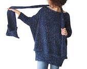 20% SALE! Tweed Blue Over Size Sweater with Pocket Scarf by AFRA Sweater - Scarf Set Plus Size