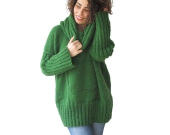 NEW! Green Hand Knitted Sweater with Accordion Hood and Pocket Plus Size Over Size Tunic - Dress Sweater by Afra