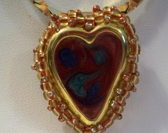 Red Heart Pendant Necklace,  Vintage Heart Pendant, Handmade Pendant, Upcycled Vintage Heart Beaded with Gold Beads on Gold Designer Chain