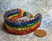 handmade woven bead shinny rainbow bracelet rainbow connection