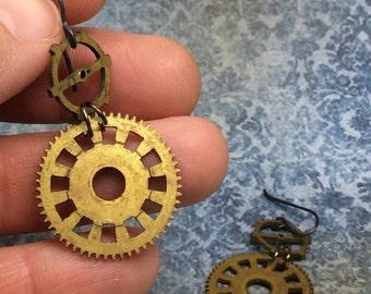 Real Steampunk handmade earrings vintage Clock parts-   Mechanical Romance