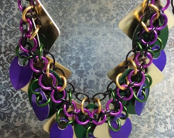 chainmaille flirtly scale necklace in gold, green, and purple
