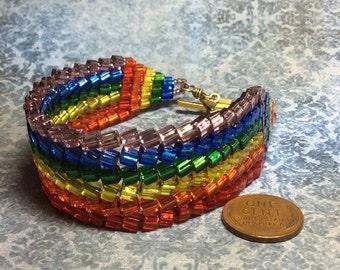 handmade woven bead shinny rainbow bracelet rainbow connection