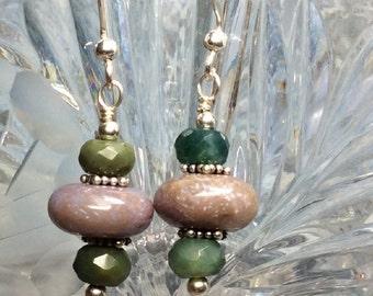 handmade OOAK fancy jasper earrings