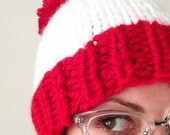 Red and White Chunky Knit Hat with Pom