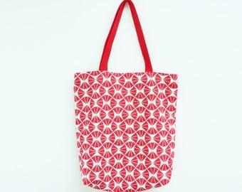Red and cream geometric fabric tote bag