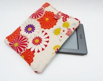 Kindle sleeve, multi colour floral, silk vintage kimono fabric